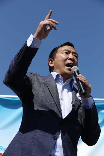 PHOTO: Democratic presidential candidate Andrew Yang delivers a 20-minute campaign speech at the Des Moines Register Political Soapbox at the Iowa State Fair, August 09, 2019, in Des Moines, Iowa. (Chip Somodevilla/Getty Images)