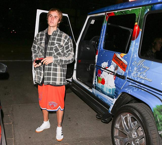 <p>Someone is <em>really</em> in the holiday spirit! Bieber showed off his Mercedes-Benz G-Class, which is festive to say the least. We wonder what the singer wants for Christmas? Santa already brought him Selena Gomez so he's probably good. (Photo: BACKGRID)<br></p>