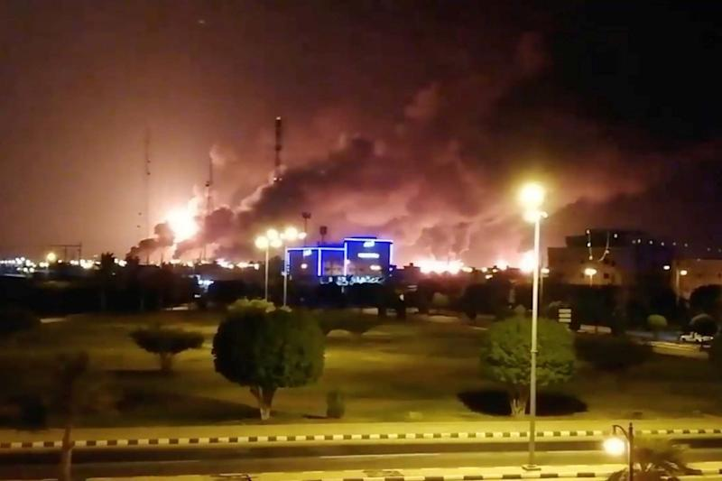 Smoke is seen following a fire at an Aramco factory in Abqaiq, Saudi Arabia. (VIDEOS OBTAINED BY REUTERS)