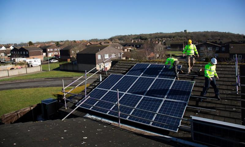 Solar panels being installed in Reading