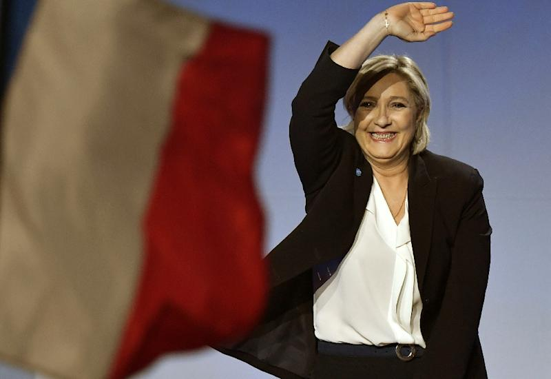 Polls show far-right candidate Marine Le Pen leading a tight four-way race for the French presidency just days before the first round of voting (AFP Photo/GEORGES GOBET)