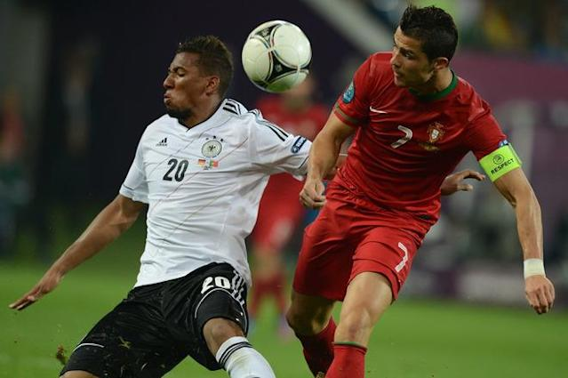 Portuguese forward Cristiano Ronaldo (R) vies with German defender Jerome Boateng (L) during the Euro 2012 championships football match Germany vs Portugal on June 9, 2012 at the Arena Lviv. AFP PHOTO / JEFF PACHOUDJEFF PACHOUD/AFP/GettyImages
