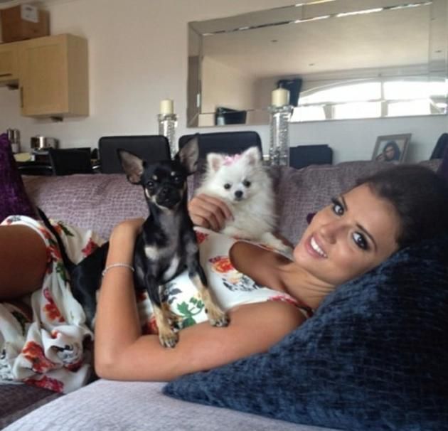 Celebrity photos: TOWIE's Lucy Mecklenburgh and Mario Falcone already have one cute pooch, Bentley, but they've made a new addition to their family in the form of the super cute new dog, Lola. Lucy tweeted this picture of herself with both dogs.