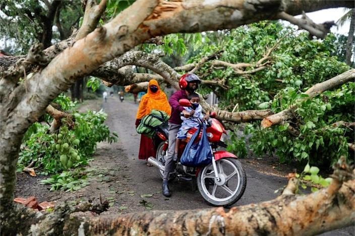Roads have been blocked by falling trees in Bangladesh