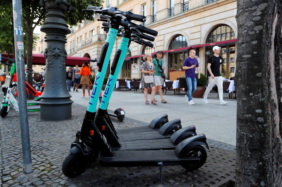 Tier e-scooters in Berlin, Germany. Photo: Fabrizio Bensch/Reuters