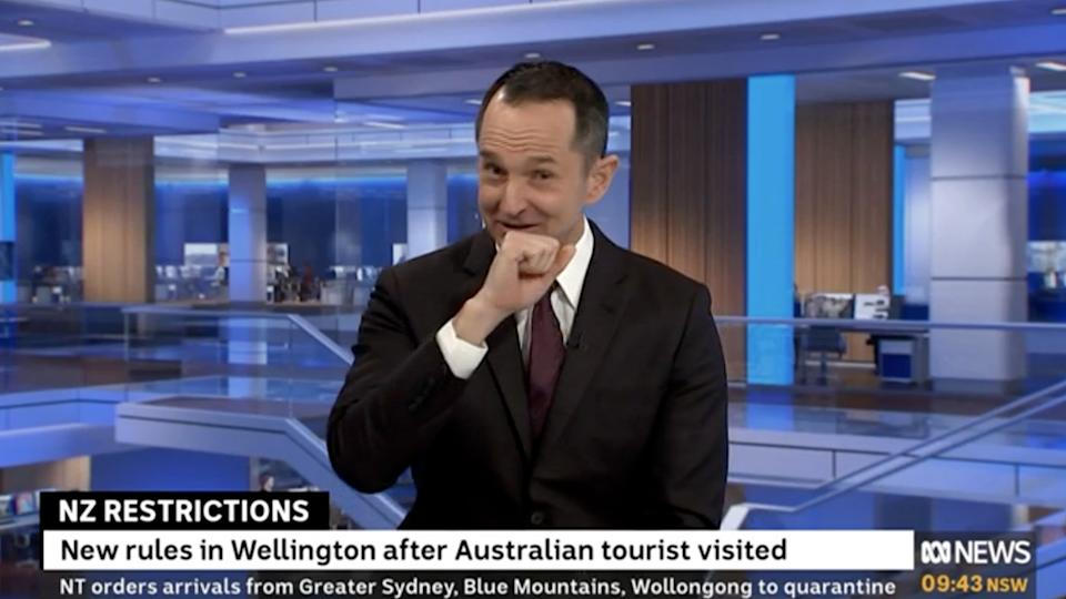 ABC's Joe O'Brien coughing during Covid reporting.