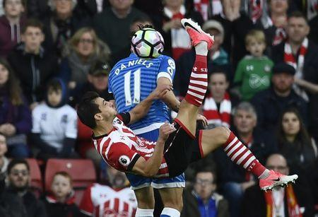 Britain Soccer Football - Southampton v AFC Bournemouth - Premier League - St Mary's Stadium - 1/4/17 Southampton's Cedric Soares in action with Bournemouth's Charlie Daniels Reuters / Dylan Martinez Livepic