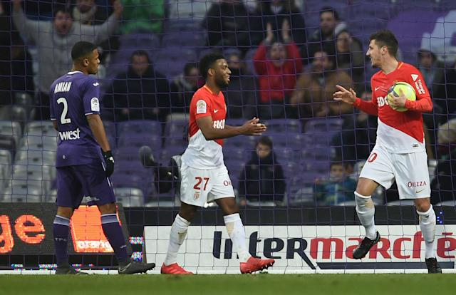 Soccer Football - Ligue 1 - Toulouse vs AS Monaco - Stadium Municipal de Toulouse, Toulouse, France - February 24, 2018 Monaco's Stevan Jovetic celebrates scoring their third goal with Thomas Lemar REUTERS/Fred Lancelot