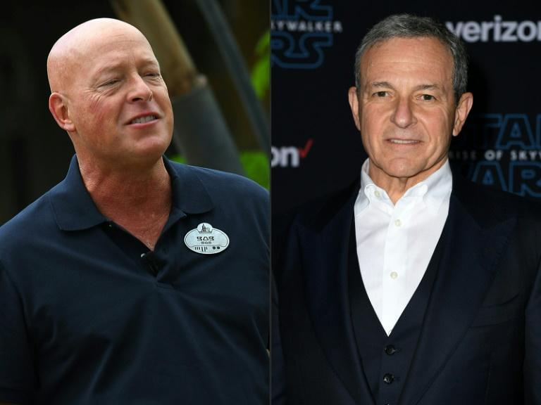 Bob Chapek (L) was named Disney CEO, replacing Bob Iger, who has headed the media-entertainment giant for some 15 years