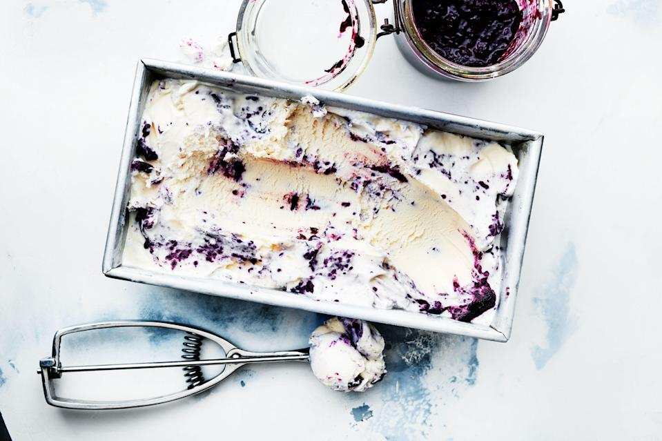 """There's no need to make homemade ice cream when blueberry jam ups the flavor and the presentation. <a href=""""https://www.bonappetit.com/recipe/blueberry-ripple-ice-cream?mbid=synd_yahoo_rss"""" rel=""""nofollow noopener"""" target=""""_blank"""" data-ylk=""""slk:See recipe."""" class=""""link rapid-noclick-resp"""">See recipe.</a>"""