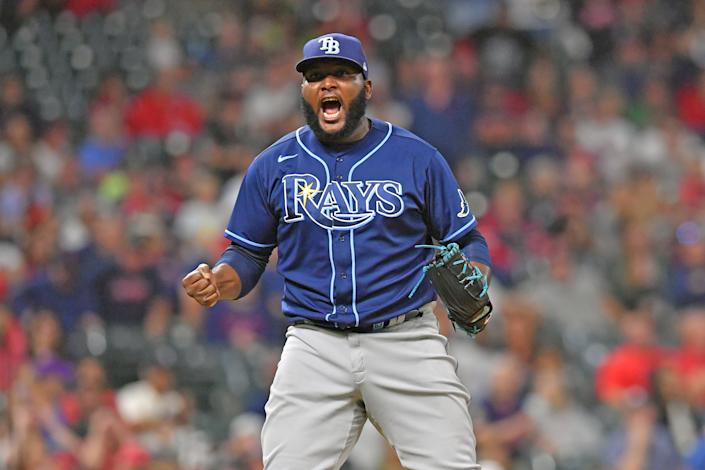 CLEVELAND, OHIO - JULY 22: Closing pitcher Diego Castillo #63 of the Tampa Bay Rays reacts after the last strike to defeat the Cleveland Indians at Progressive Field on July 22, 2021 in Cleveland, Ohio. The Tampa Bay Rays defeated the Indians 5-4 in 10 innings.  (Photo by Jason Miller/Getty Images)