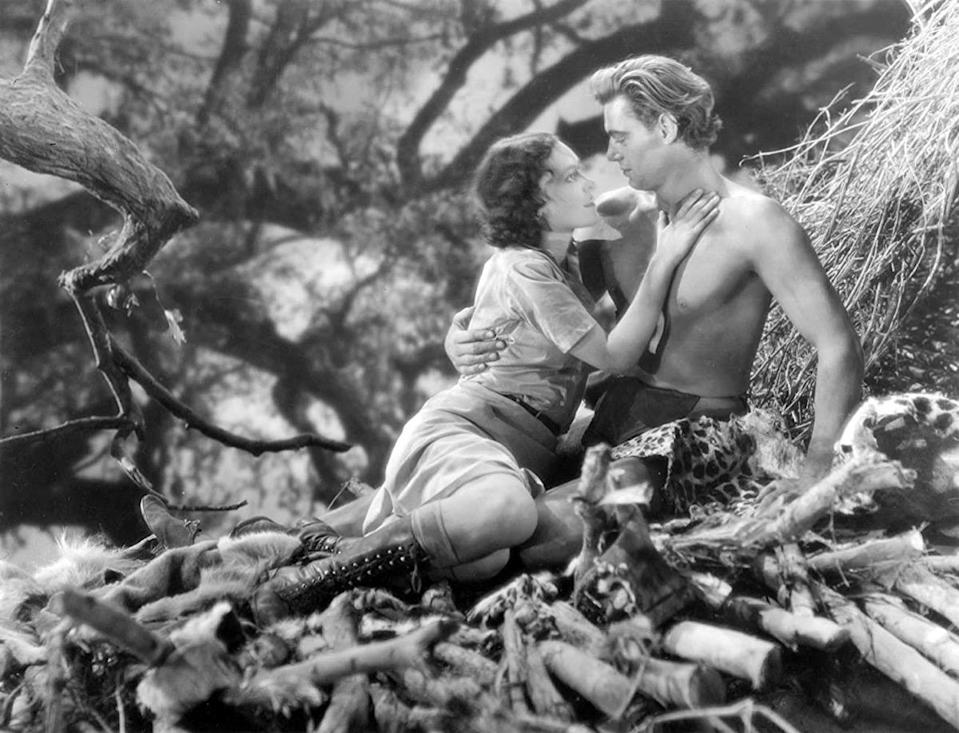 """Even <strong>Johnny Weissmuller</strong>, the star of the 1932 classic <em>Tarzan, the Ape Man</em>, was confused about the famous line. He once admitted in an interview, """"<a href=""""https://www.telegraph.co.uk/books/authors/quotes-about-love-and-romance/tarzan/"""" rel=""""nofollow noopener"""" target=""""_blank"""" data-ylk=""""slk:I didn't have to act in Tarzan"""" class=""""link rapid-noclick-resp"""">I didn't have to act in <em>Tarzan</em></a>, I just said: 'Me Tarzan, you Jane.'"""" Except, sorry, he never said that. His character has a lengthy exchange with Jane as she attempts to explain their names. There's a lot of finger pointing back and forth as she tries to make him understand. His closest version of the line is, """"Jane. Tarzan. Jane. Tarzan. Jane. Tarzan. Jane…"""" But maybe that's not as catchy as """"Me Tarzan, you Jane."""""""
