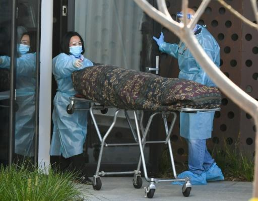 Care home residents who had died of the virus were seen being wheeled away in body bags in Melbourne