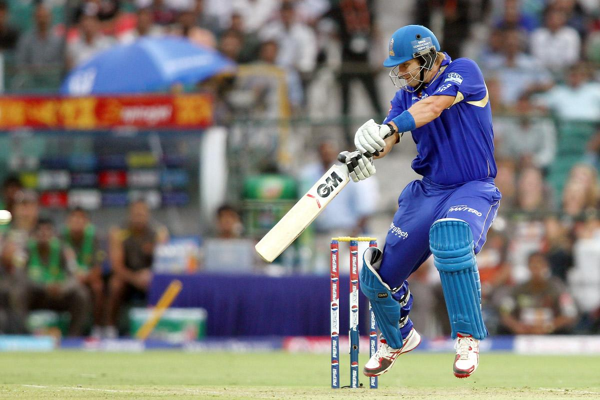 Shane Watson of Rajasthan Royals gets airborne while cutting a delivery square during match 36 of the Pepsi Indian Premier League (IPL) 2013 between The Rajasthan Royals and the Sunrisers Hyderabad held at the Sawai Mansingh Stadium in Jaipur on the 27th April 2013. (BCCI)