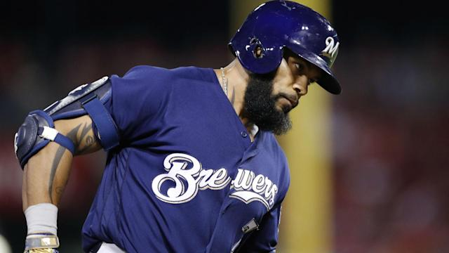 Brewers slugger Eric Thames is off to a hot start, with seven home runs in 14 games, leading a couple of Cubs to hint something is amiss.