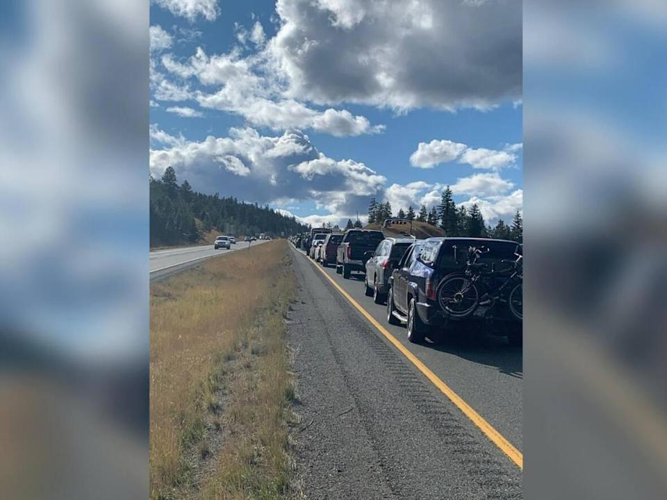 Traffic backed up on the Coquihalla Highway on Monday. A rollover led to the complete temporary closure of the highway. One person was airlifted to hospital with serious injuries. (Mike Grandia/Twitter - image credit)