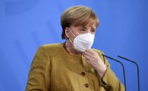 FILE PHOTO: German Chancellor Merkel holds a news conference after virtual G7 summit, in Berlin