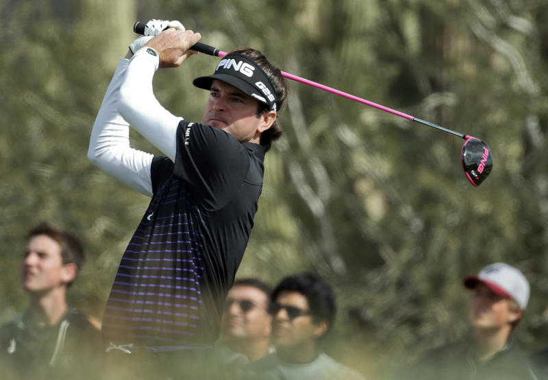 Bubba Watson tees off on the 11th hole during a first round match against Chris Wood, of England, at the Match Play Championship golf tournament, Thursday, Feb. 21, 2013, in Marana, Ariz. (AP Photo/Ross D. Franklin)