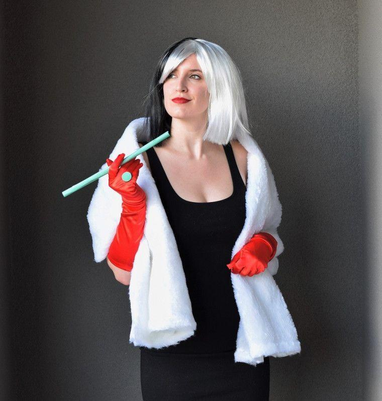 """<p>In the pantheon of Disney scoundrels, few can match Cruella de Vil for sheer, black-hearted baditude. To re-create this Cruella costume, begin by finding the perfect wig, then follow the DIY tutorial to complete it.</p><p><strong>Get the tutorial at <a href=""""https://sewbakedecorate.com/2016/10/27/diy-cruella-deville-costume/"""" rel=""""nofollow noopener"""" target=""""_blank"""" data-ylk=""""slk:Sew Bake Decorate"""" class=""""link rapid-noclick-resp"""">Sew Bake Decorate</a>.</strong></p><p><a class=""""link rapid-noclick-resp"""" href=""""https://www.amazon.com/cruella-deville-wig/s?k=cruella+deville+wig&tag=syn-yahoo-20&ascsubtag=%5Bartid%7C10050.g.36674692%5Bsrc%7Cyahoo-us"""" rel=""""nofollow noopener"""" target=""""_blank"""" data-ylk=""""slk:SHOP CRUELLA DE VIL WIGS"""">SHOP CRUELLA DE VIL WIGS</a><br></p>"""