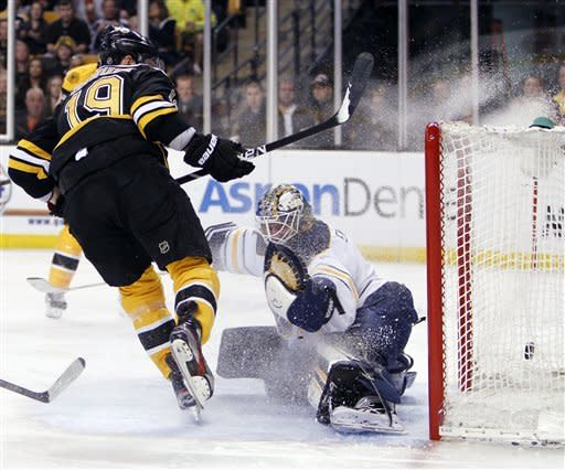 Boston Bruins' Tyler Seguin (19) scores on Buffalo Sabres' Jhonas Enroth in the second period of an NHL hockey game in Boston, April 7, 2012. (AP Photo/Michael Dwyer)