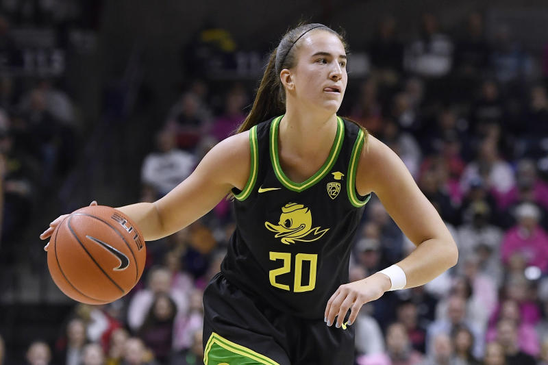 Oregon's Sabrina Ionescu in the second half of an NCAA college basketball game, Monday, Feb. 3, 2020, in Storrs, Conn. (AP Photo/Jessica Hill)
