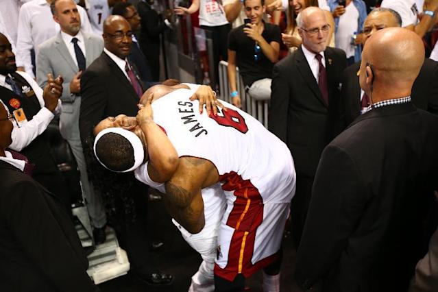 MIAMI, FL - MAY 14: LeBron James #6 of the Miami Heat reacts after winning Game Five against the Brooklyn Nets of the Eastern Conference Semifinals of the 2014 NBA playoffs at American Airlines Arena in Miami, Florida on May 14, 2014. (Photo by Nathaniel S. Butler/NBAE via Getty Images)