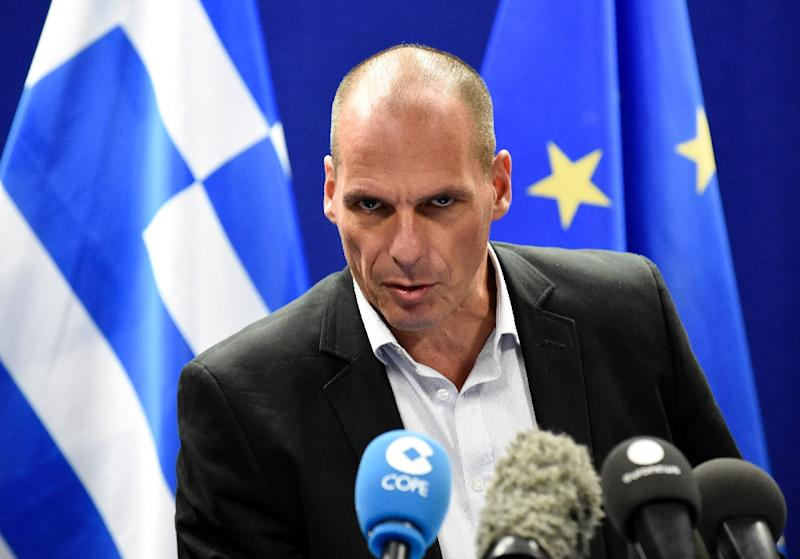 Greek Finance Minister Yanis Varoufakis speaks during a press conference after a Eurogroup Council meeting on May 11, 2015 at the EU Headquarters in Brussels (AFP Photo/John Thys)