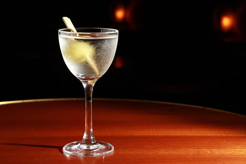 <p><strong>Ingredients</strong></p><p>1 oz Perry's Tot Navy Strength Gin<br>2 oz Fino Sherry<br>1 dash celery bitters Olive</p><p><strong>Instructions</strong></p><p>Stir ingredients with ice. Strain into a Nick and Nora glass. Garnish with an olive.</p><p><em>By Jim Kearns for Slowly Shirley in New York City</em></p>