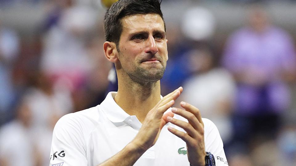 Tennis world No.1 Novak Djokovic's anti-vaccination stance could be put to the test next year, with the Victorian state government to consider mandatory vaccines for visiting international athletes.` (Photo by KENA BETANCUR/AFP via Getty Images)