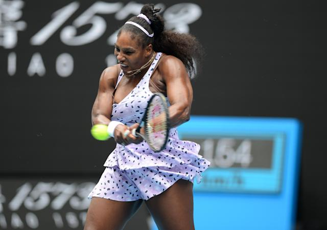 MELBOURNE, AUSTRALIA - JANUARY 24 : Serena Williams gestures her women's singles match against Qiang Wang of China (not seen) at the Australian Open tennis tournament in Melbourne, Australia on January 24, 2020. (Photo by Recep Sakar/Anadolu Agency via Getty Images)
