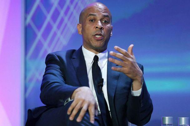 PHOTO: Sen. Cory Booker speaks during a Presidential Candidates Forum at the 2019 NABJ Annual Convention & Career Fair held at the J.W. Marriott Miami Turnberry Resort & Spa, Aug. 8, 2019, in Miami. (Joe Raedle/Getty Images)