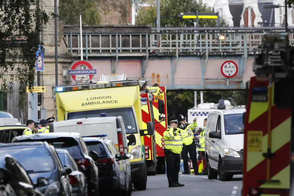 Emergency services at the scene this morning (AP Photo/Frank Augstein)