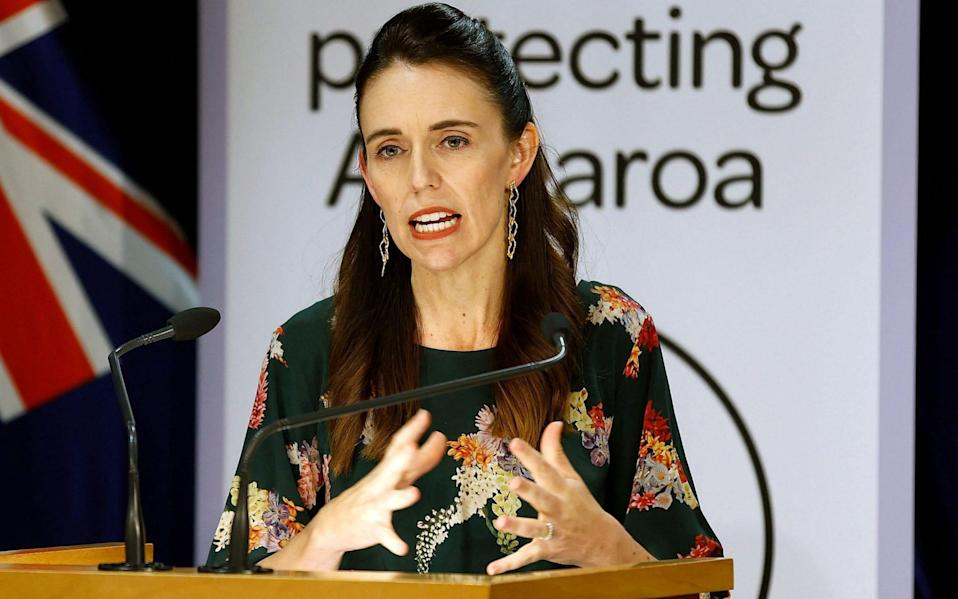 New Zealand's Prime Minister Jacinda Ardern speaks during a press conference about Covid-19 coronavirus restrictions - AFP