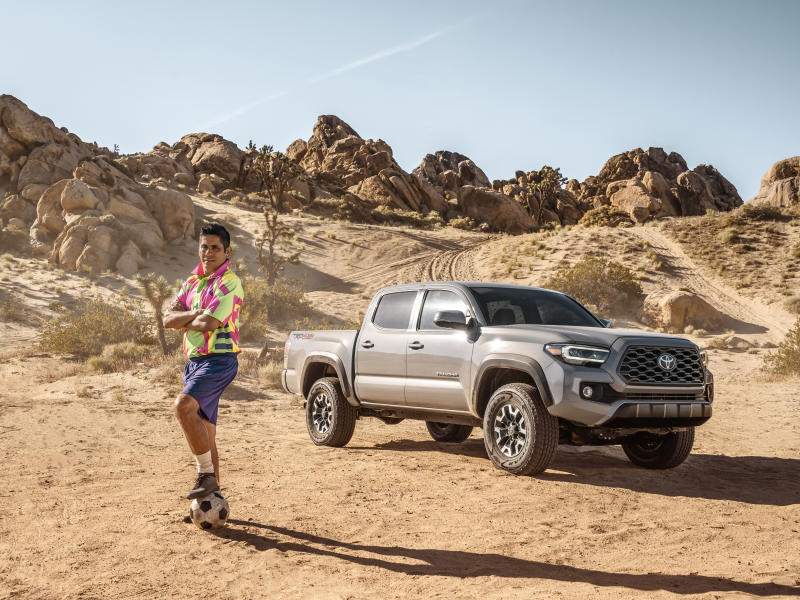 Jorge Campos on set with the Toyota Tacoma.