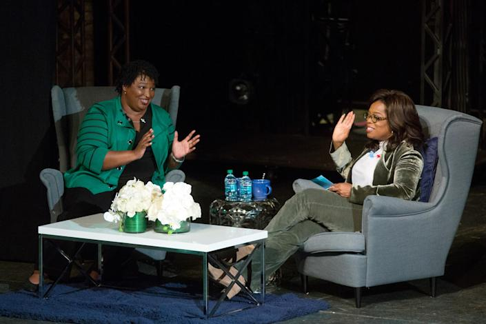 Oprah Winfrey takes part in a town hall meeting with Democratic gubernatorial candidate Stacey Abrams ahead of the midterm election in Marietta, Ga., on Thursday. (Photo: Chris Aluka Berry/Reuters)