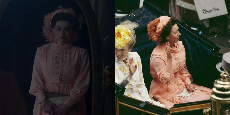 <p>From the peach color to the diamond broach pinned to her draped neck dress, <em>The Crown </em>replicated Princess Margaret's outfit to the royal wedding precisely. </p>