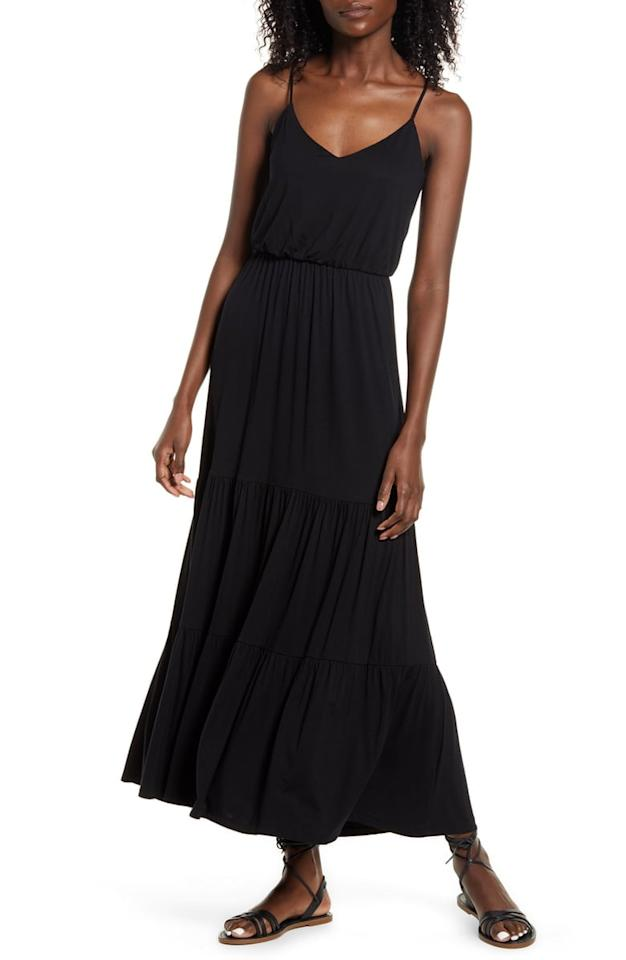 """<p>There are so many ways to style this <a href=""""https://www.popsugar.com/buy/All-Favor-Tiered-Cami-Maxi-Dress-581607?p_name=All%20in%20Favor%20Tiered%20Cami%20Maxi%20Dress&retailer=shop.nordstrom.com&pid=581607&price=49&evar1=fab%3Aus&evar9=37378244&evar98=https%3A%2F%2Fwww.popsugar.com%2Ffashion%2Fphoto-gallery%2F37378244%2Fimage%2F47546307%2FAll-in-Favor-Tiered-Cami-Maxi-Dress&list1=shopping%2Cdresses%2Cmaxi%20dresses%2Csummer%20fashion%2Cfashion%20shopping&prop13=api&pdata=1"""" rel=""""nofollow"""" data-shoppable-link=""""1"""" target=""""_blank"""" class=""""ga-track"""" data-ga-category=""""Related"""" data-ga-label=""""https://shop.nordstrom.com/s/all-in-favor-tiered-cami-maxi-dress/5542419?origin=category-personalizedsort&amp;breadcrumb=Home%2FWomen%2FClothing%2FDresses&amp;color=tango%20red"""" data-ga-action=""""In-Line Links"""">All in Favor Tiered Cami Maxi Dress</a> ($49).</p>"""