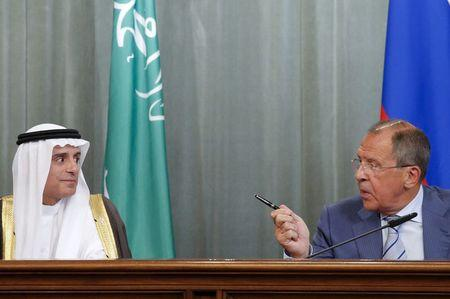 Russian Foreign Minister Lavrov and Saudi Foreign Minister al-Jubeir attend a news conference in Moscow