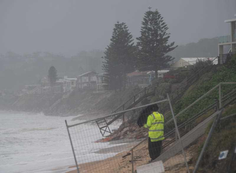 A view of damaged houses along Terrigal Beach on the Central Coast, NSW