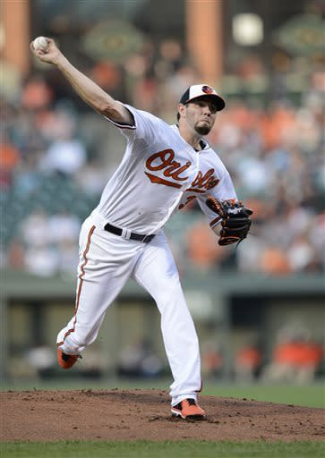 Baltimore Orioles starter Jason Hammel delivers a pitch against the New York Yankees during the first inning of a baseball game, Wednesday, May 22, 2013, in Baltimore. (AP Photo/Nick Wass)