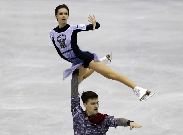 Natalia Zabiiako and Alexander Elbert of Russia perform during the pairs short program of their NHK Trophy Figure Skating in Hiroshima, western Japan, Friday, Nov. 9, 2018. (AP Photo/Koji Sasahara)