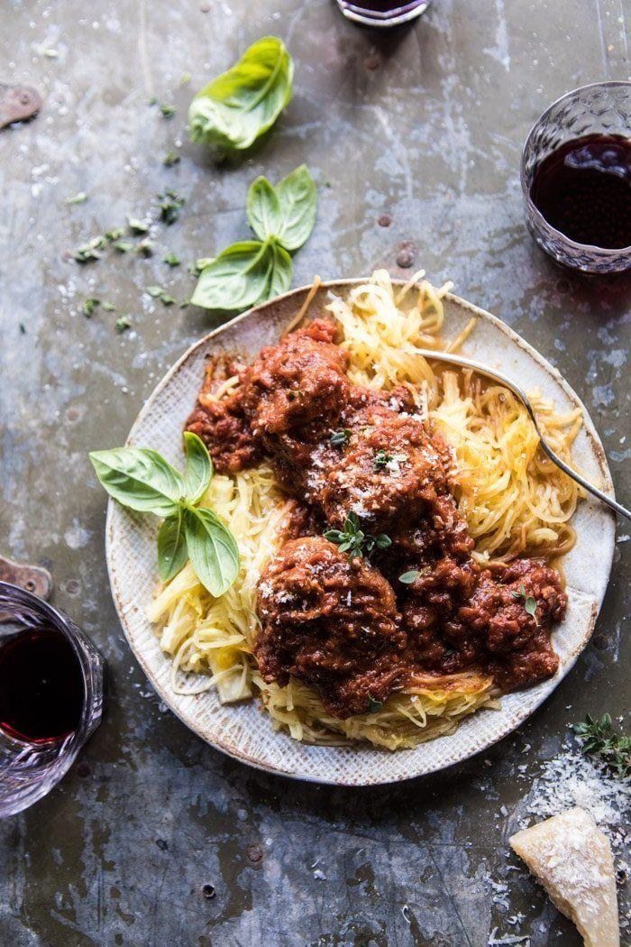 "<strong>Get the <a href=""https://www.halfbakedharvest.com/instant-pot-turkey-meatballs-and-spaghetti-squash/"" rel=""nofollow noopener"" target=""_blank"" data-ylk=""slk:Instant Pot Turkey Meatballs And Spaghetti Squash recipe"" class=""link rapid-noclick-resp"">Instant Pot Turkey Meatballs And Spaghetti Squash recipe</a> from Half Baked Harvest</strong>"