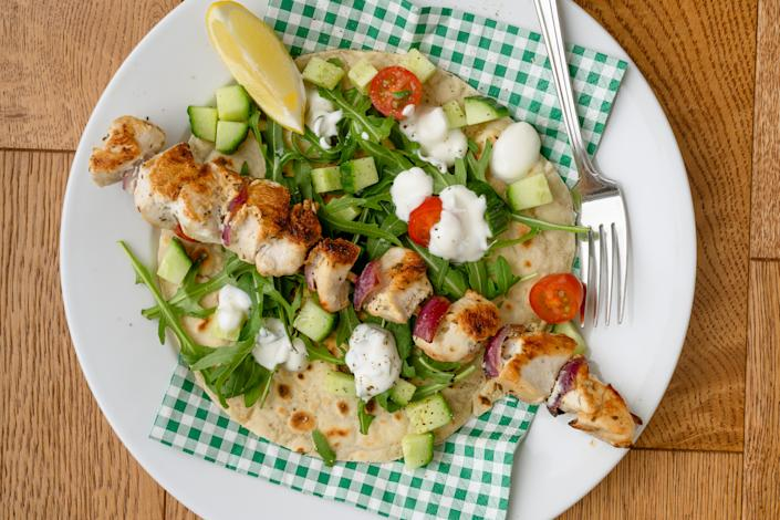 Marinated chicken kebab and flatbread (Andrew Bowden-Smith)