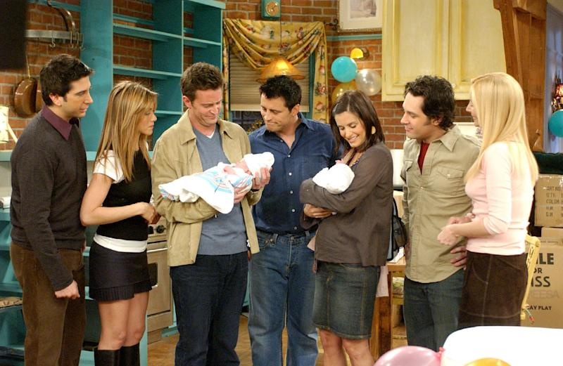 David Schwimmer, left, Jennifer Aniston, Matthew Perry, Matt LeBlanc, Courteney Cox Arquette, Paul Rudd and Lisa Kudrow in the series finale of NBC's
