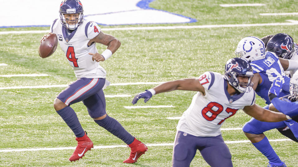 Deshaun Watson, pictured here in action against the Indianapolis Colts in the NFL.