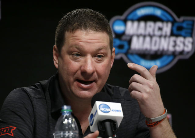 Texas Tech coach Chris Beard speaks during a news conference at the NCAA men's college basketball tournament, Saturday, March 24, 2018, in Boston. Texas Tech will face Villanova in a regional final on Sunday. (AP)