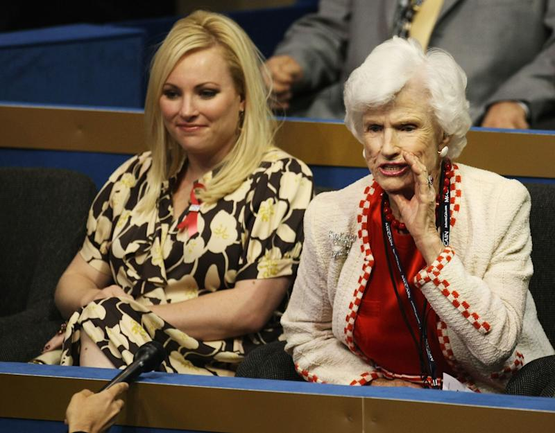 ST. PAUL, MN - SEPTEMBER 01: Meghan McCain (L), daughter of presumptive Republican presidential nominee U.S. Sen. John McCain (R-AZ), and Roberta McCain (R), mother of Republican presidential candidate Sen. John McCain, sit on day one of the Republican National Convention (RNC) at the Xcel Energy Center September 1, 2008 in St. Paul, Minnesota. The GOP will nominate U.S. Sen. John McCain (R-AZ) as the Republican choice for U.S. President on the last day of the convention. (Photo by Justin Sullivan/Getty Images)