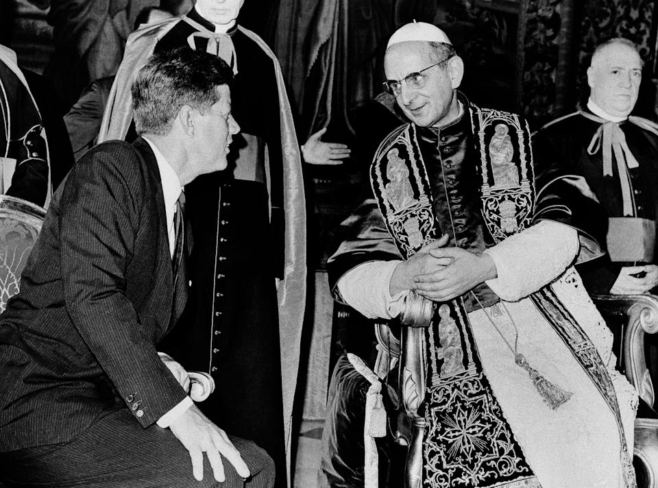 President John F. Kennedy talks to Pope Paul VI at the Vatican in this July 2, 1963, Kennedy, the first and only Roman Catholic U.S. president, confronted anti-Catholic bias during his 1960 presidential campaign. (Photo: ASSOCIATED PRESS)