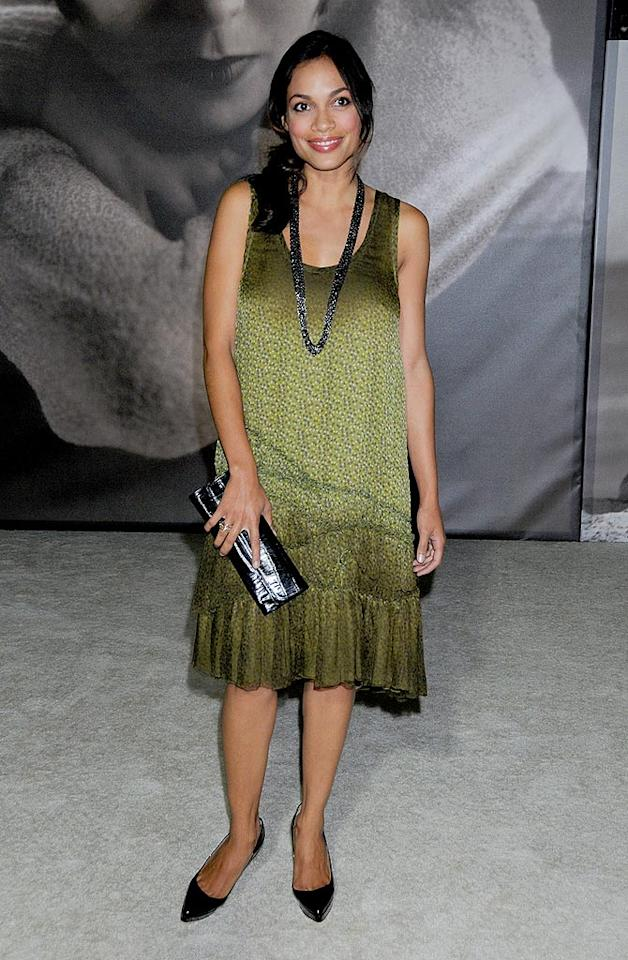 """Rosario Dawson's dowdy dress does nothing to accentuate her fantastic figure. Gregg DeGuire/<a href=""""http://www.wireimage.com"""" target=""""new"""">WireImage.com</a> - October 21, 2008"""