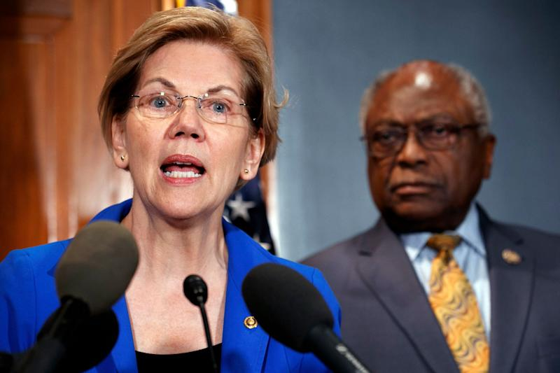 Sen. Elizabeth Warren and Rep. James Clyburn speak about a bill to cancel student loan debt at a Capitol Hill press conference on Tuesday. (Photo: AP Photo/Jacquelyn Martin)